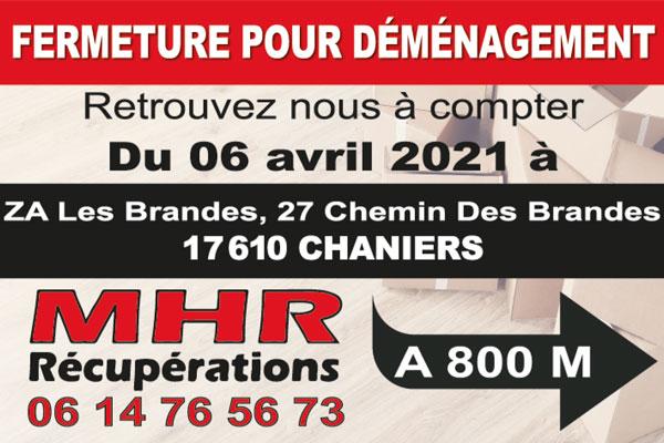 FERMETURE POUR DÉMÉNAGEMENT DU 28/03/21 AU 05/04/21